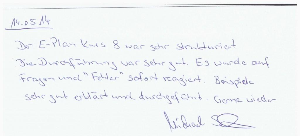 Positive Bewertung des EPLAN-Basistrainings von FRAME Geschäftsführer Frank Meinert